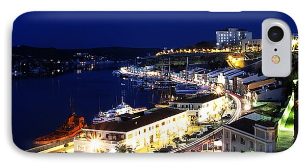 IPhone Case featuring the photograph Mahon Harbour At Night by Pedro Cardona