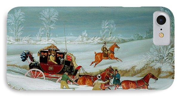 Mail Coach In The Snow IPhone Case by John Pollard
