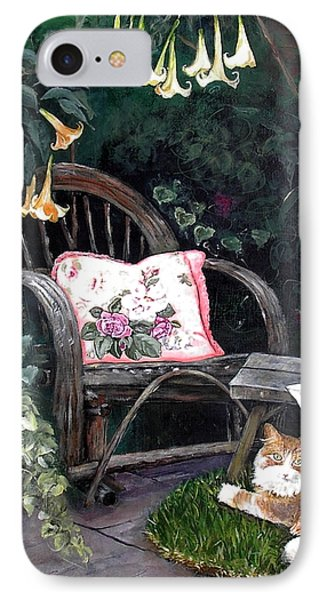 IPhone Case featuring the painting My Secret Garden by Mary-Lee Sanders
