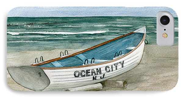 IPhone Case featuring the painting Ocean City Lifeguard Boat by Nancy Patterson