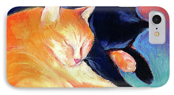 Orange And Black Tabby Cats Sleeping IPhone Case by Svetlana Novikova