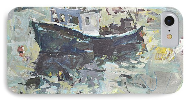 IPhone Case featuring the painting Original Lobster Boat Painting by Robert Joyner