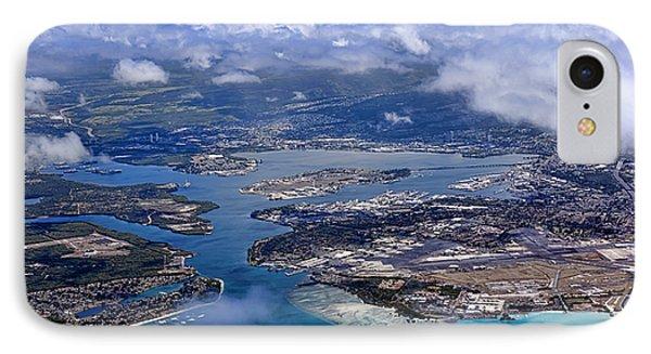 Pearl Harbor Aerial View IPhone Case by Dan McManus
