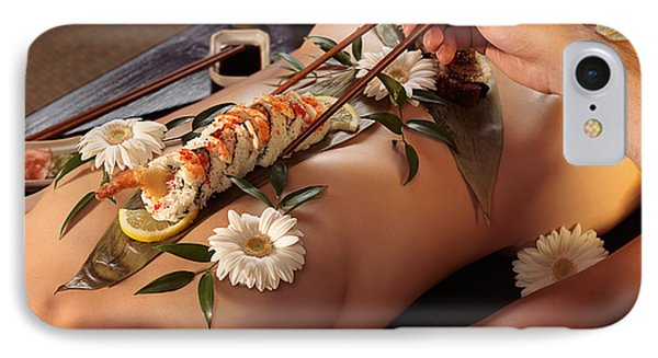 Person Eating Nyotaimori Body Sushi Phone Case by Oleksiy Maksymenko