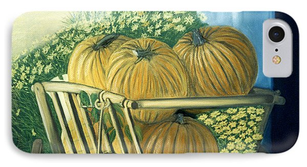 IPhone Case featuring the pastel Pumpkin Cart In Boerne by Jan Amiss