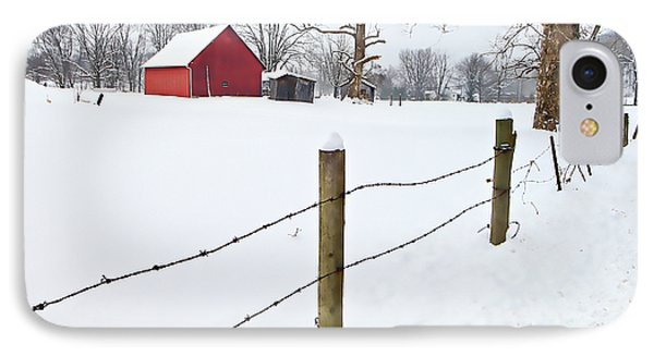 Red Barn And Fresh Snow - D006392a Phone Case by Daniel Dempster