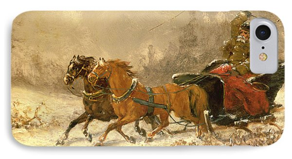 Returning Home In Winter IPhone Case by Charles Ferdinand De La Roche