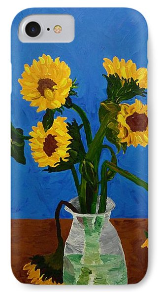 Seven Sunflowers In Vase IPhone Case by Joshua Redman