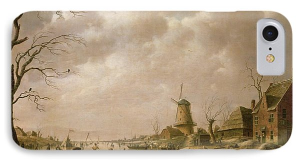 Skaters On A Frozen Canal IPhone Case by Hendrik Willem Schweickardt