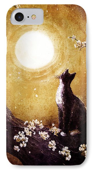 Tuxedo Cat In Golden Cherry Blossoms IPhone Case