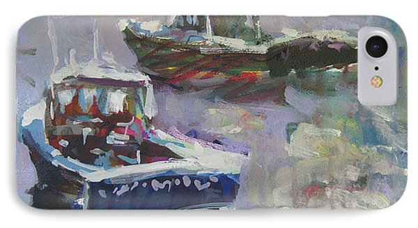 IPhone Case featuring the painting Two Lobster Boats by Robert Joyner