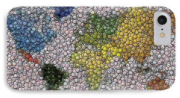 World Map Bottle Cap Mosaic Phone Case by Paul Van Scott
