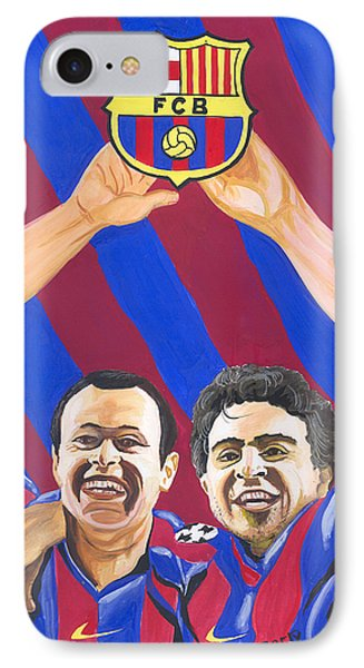 IPhone Case featuring the painting Xavi And Iniesta by Emmanuel Baliyanga