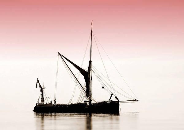 Coble Sailing  Against Pint Sky Art Print