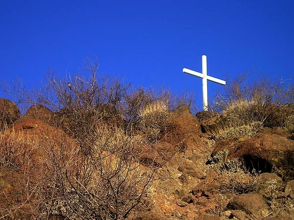 Wall Art - Photograph - White Cross On A Craggy Hill - 146 by Eve Paludan