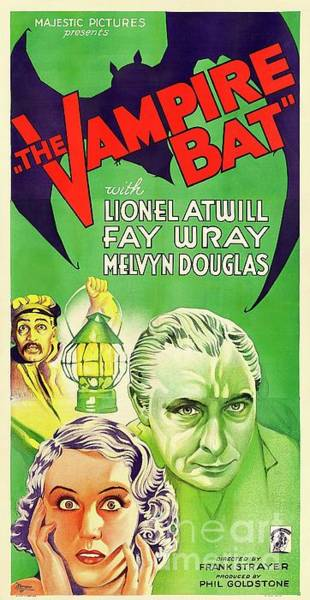 Wall Art - Painting - Classic Movie Poster - The Vampire Bat by Esoterica Art Agency