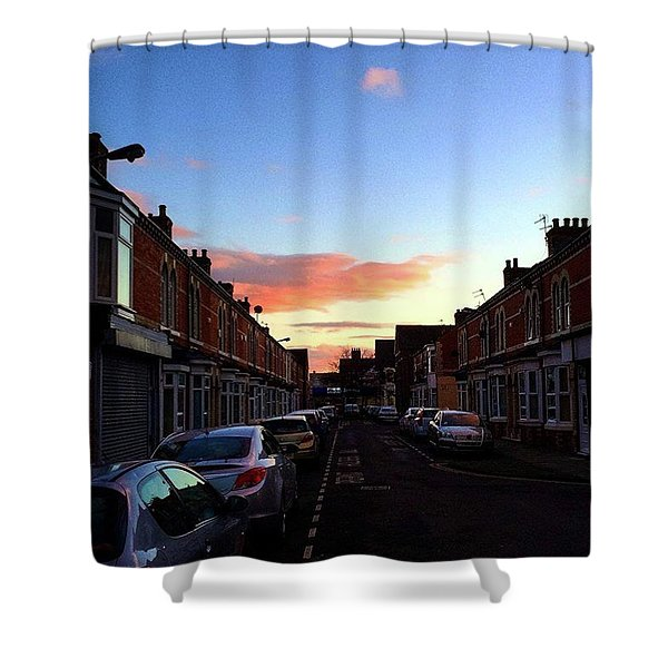 Cartoon Skies Over Middlesbrough Today Shower Curtain