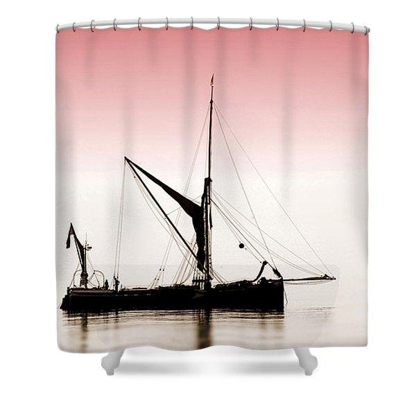 Coble Sailing  Against Pint Sky Shower Curtain