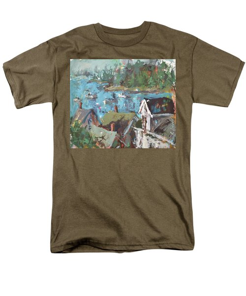 Men's T-Shirt  (Regular Fit) featuring the painting Original Modern Abstract Maine Landscape Painting by Robert Joyner