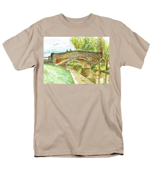 Men's T-Shirt  (Regular Fit) featuring the painting Canal-bridal Path In Staffordshire  by Teresa White