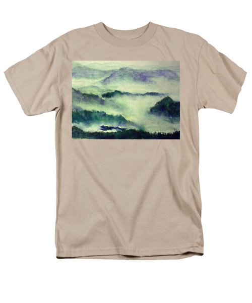 Men's T-Shirt  (Regular Fit) featuring the painting Mountain Oriental Style by Yoshiko Mishina