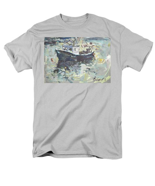 Men's T-Shirt  (Regular Fit) featuring the painting Original Lobster Boat Painting by Robert Joyner