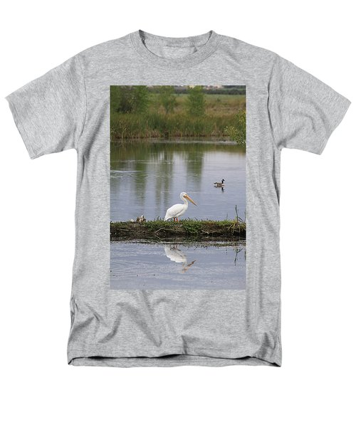 Men's T-Shirt  (Regular Fit) featuring the photograph Pelican Reflection by Alyce Taylor