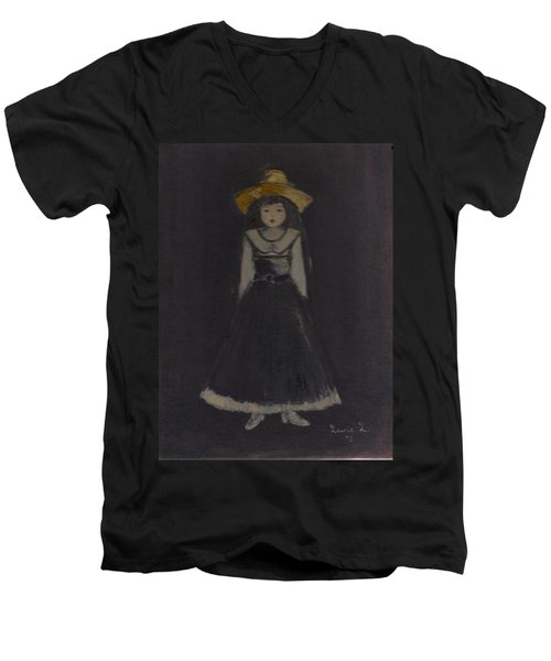 Men's V-Neck T-Shirt featuring the painting Just A Beautiful Country Girl... by Laurie L