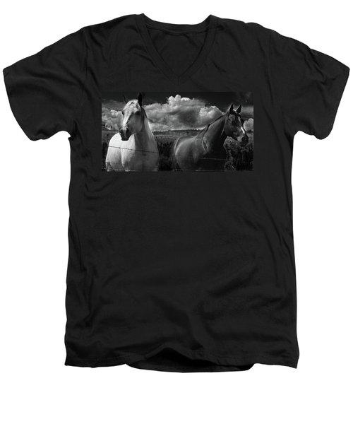 Us Men's V-Neck T-Shirt by Jerry Cordeiro