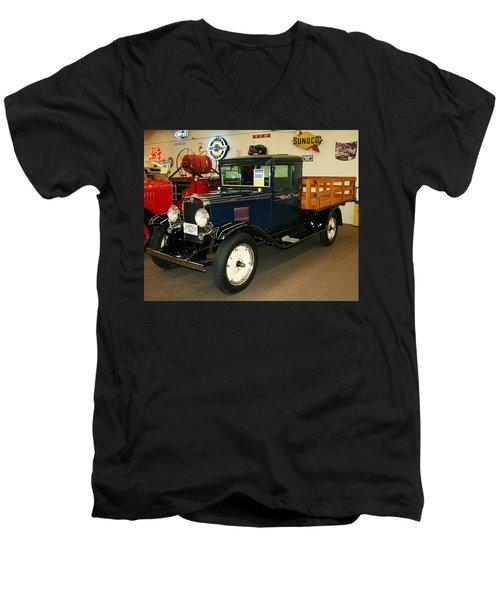 1930 Chevrolet Stake Bed Truck Men's V-Neck T-Shirt by John Black