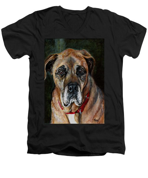 Boo For Dogtown Men's V-Neck T-Shirt by Mary-Lee Sanders
