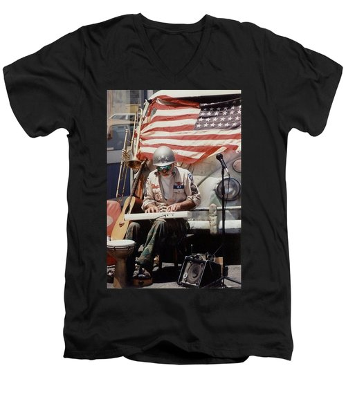 Men's V-Neck T-Shirt featuring the photograph Born In The Usa by Mary-Lee Sanders