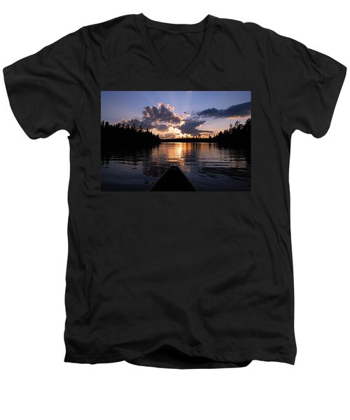 Evening Paddle On Spoon Lake Men's V-Neck T-Shirt by Larry Ricker