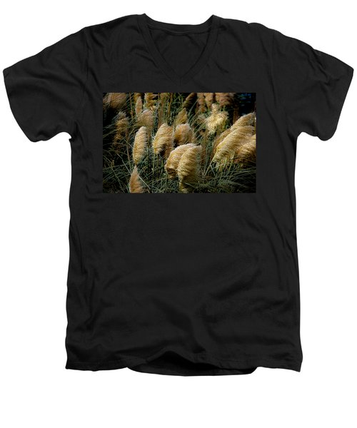 Golden Pampas In The Wind Men's V-Neck T-Shirt by DigiArt Diaries by Vicky B Fuller