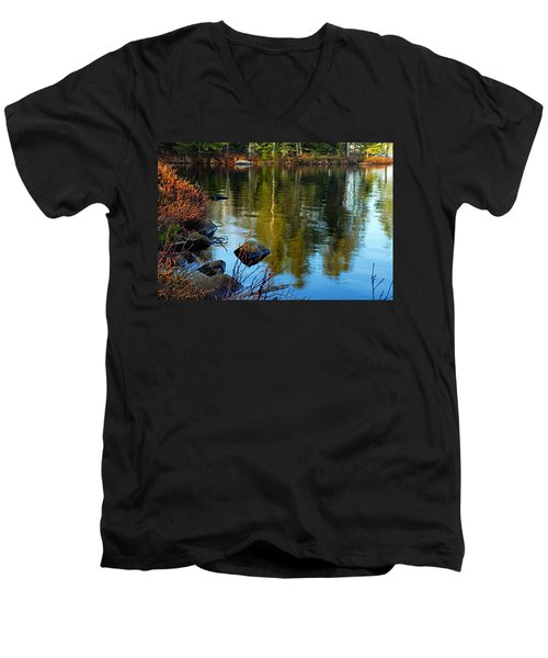 Morning Reflections On Chad Lake Men's V-Neck T-Shirt