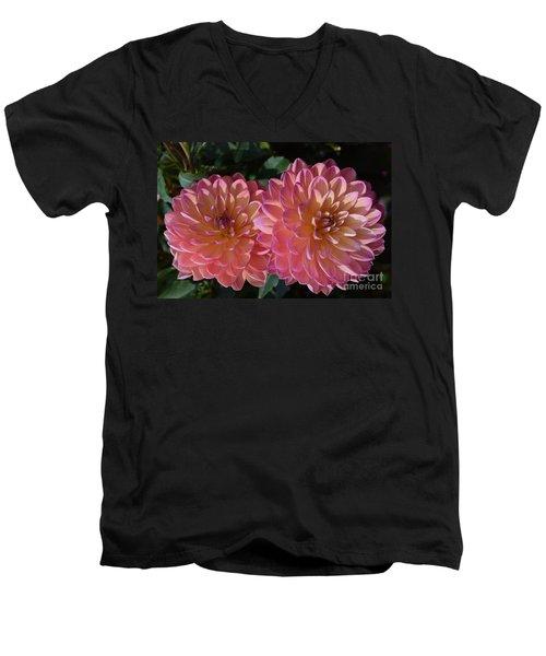 Peachy Dahlias Men's V-Neck T-Shirt