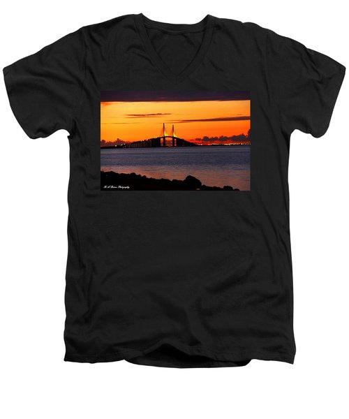 Sunset Over The Skyway Bridge Men's V-Neck T-Shirt