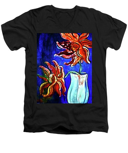 Two Flowers With Vase Men's V-Neck T-Shirt