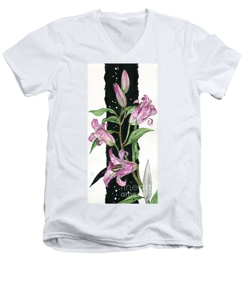 Men's V-Neck T-Shirt featuring the painting Flower Lily 01 Elena Yakubovich by Elena Yakubovich