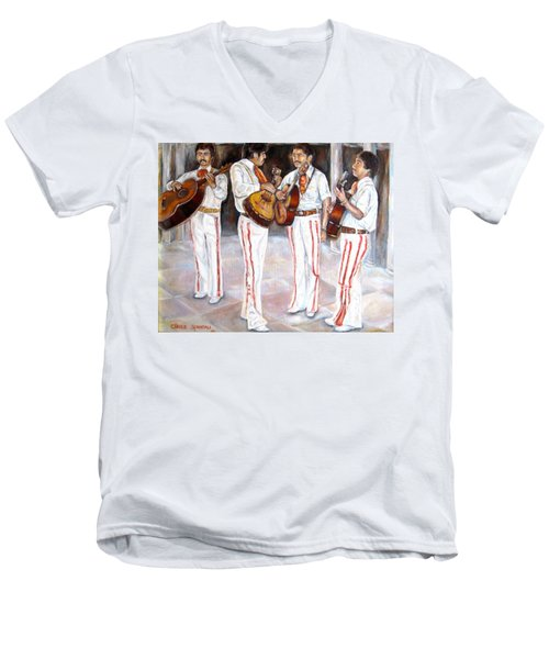 Men's V-Neck T-Shirt featuring the painting Mariachi  Musicians by Carole Spandau