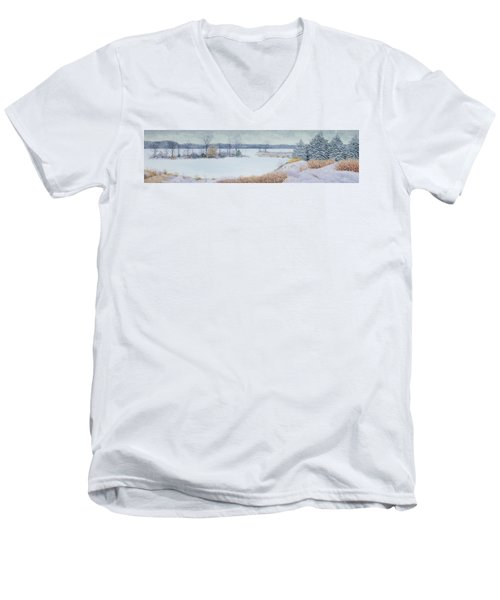 Winter Lake And Cedars Men's V-Neck T-Shirt