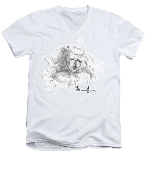 Men's V-Neck T-Shirt featuring the drawing Question Of The Heart by Laurie L