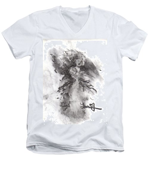 Men's V-Neck T-Shirt featuring the drawing Rapture Of Peace by Laurie L