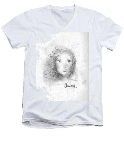 Men's V-Neck T-Shirt featuring the drawing Something About Mary by Laurie L