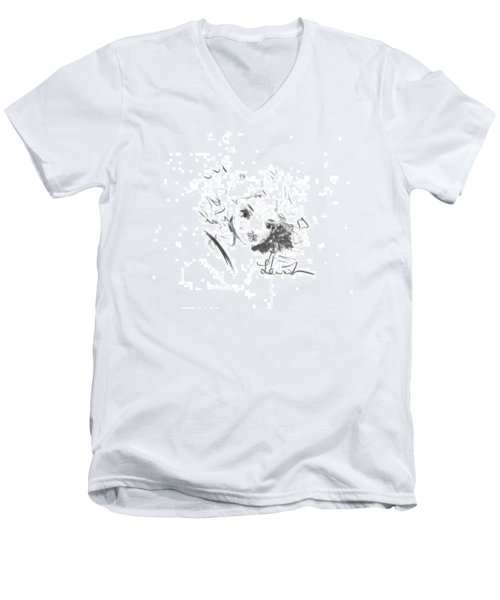 Men's V-Neck T-Shirt featuring the drawing Just Country by Laurie L