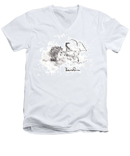 Men's V-Neck T-Shirt featuring the drawing Timeless Love by Laurie L