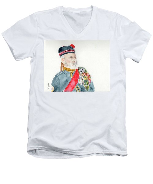 Men's V-Neck T-Shirt featuring the painting A Scottish Soldier by Yoshiko Mishina