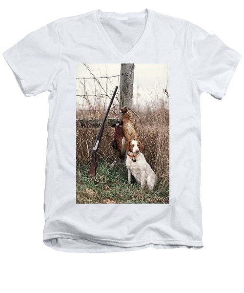 Brittany And Pheasants - Fs000757b Men's V-Neck T-Shirt