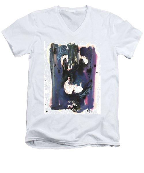 Men's V-Neck T-Shirt featuring the painting Kneeling by Robert Joyner
