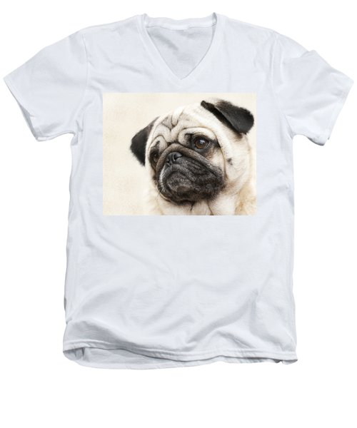 L-o-l-a Lola The Pug Men's V-Neck T-Shirt by Kathy Clark